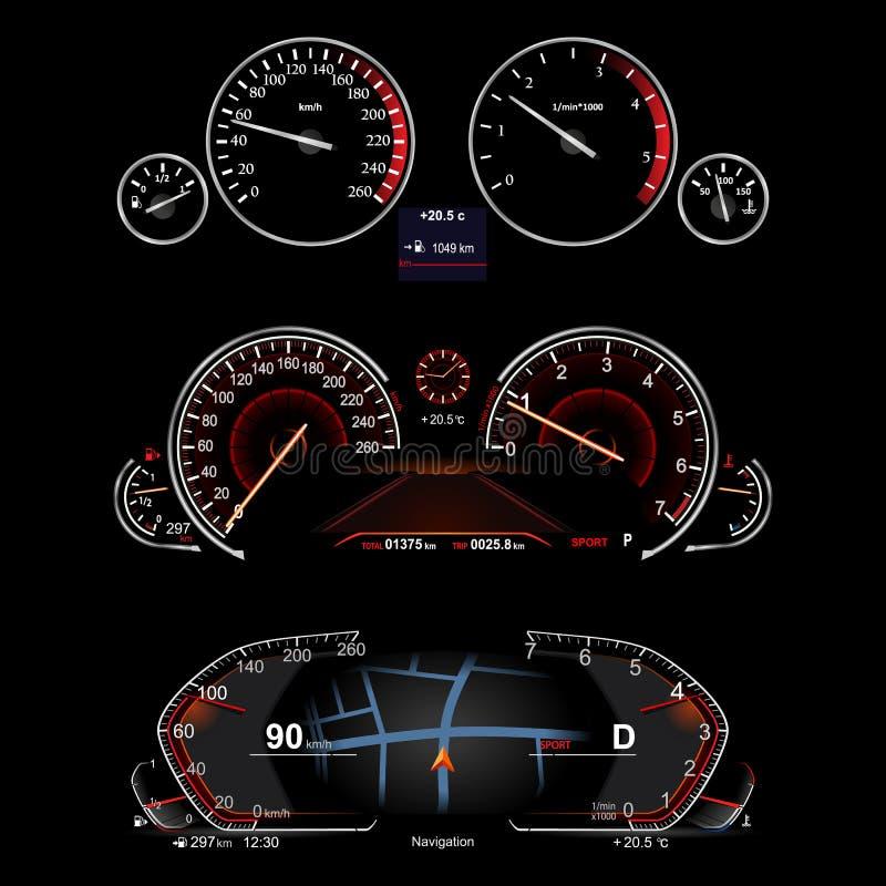Ρεαλιστικό ταμπλό αυτοκινήτων διανυσματική απεικόνιση