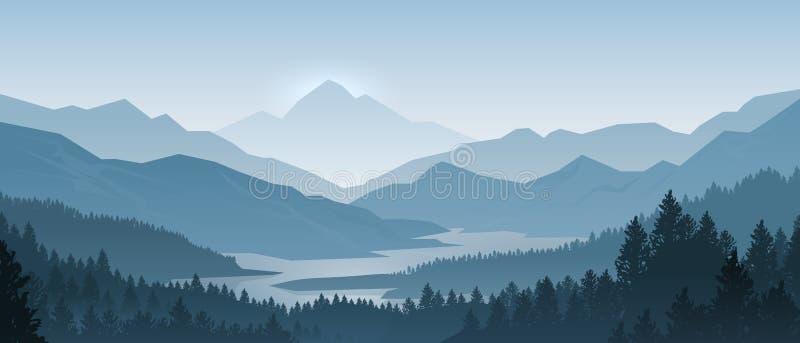 Ρεαλιστικό τοπίο βουνών Ξύλινο πανόραμα πρωινού, δέντρα πεύκων και σκιαγραφίες βουνών Διανυσματικό δασικό υπόβαθρο ελεύθερη απεικόνιση δικαιώματος