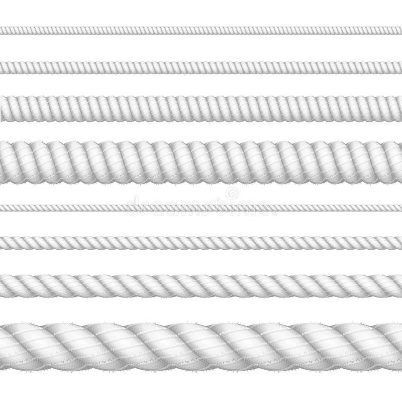 Ρεαλιστικό τρισδιάστατο άσπρο λεπτομερές σύνολο γραμμών σχοινιών πάχους διάνυσμα ελεύθερη απεικόνιση δικαιώματος