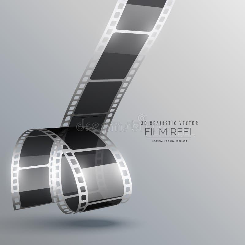 Ρεαλιστικό τρισδιάστατο διάνυσμα λουρίδων ταινιών ελεύθερη απεικόνιση δικαιώματος