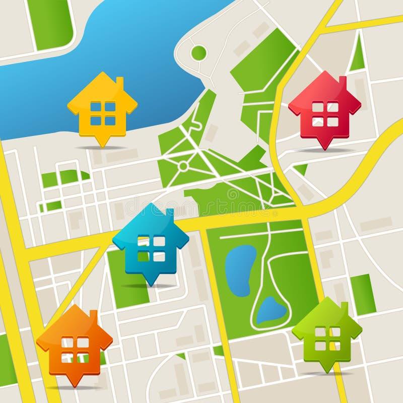 Ρεαλιστικό τρισδιάστατο λεπτομερές υπόβαθρο καρφιτσών ακίνητων περιουσιών χαρτών πόλεων διάνυσμα ελεύθερη απεικόνιση δικαιώματος