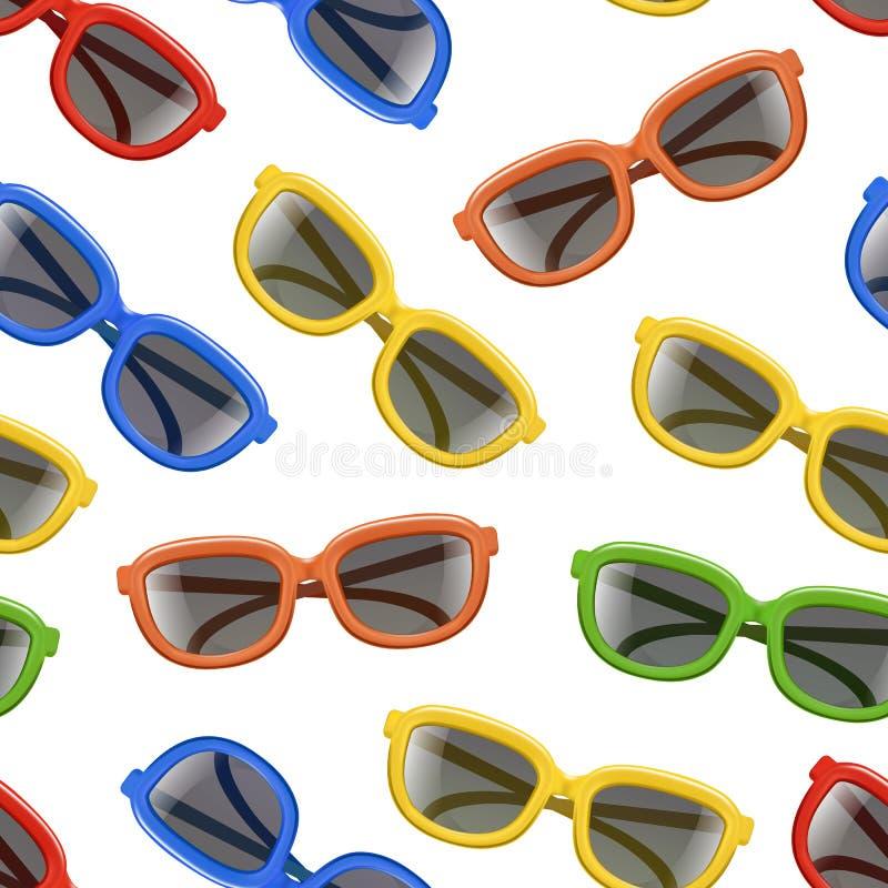 Ρεαλιστικό τρισδιάστατο χρώματος γυαλιών ηλίου μαύρο υπόβαθρο σχεδίων φακών άνευ ραφής διάνυσμα διανυσματική απεικόνιση