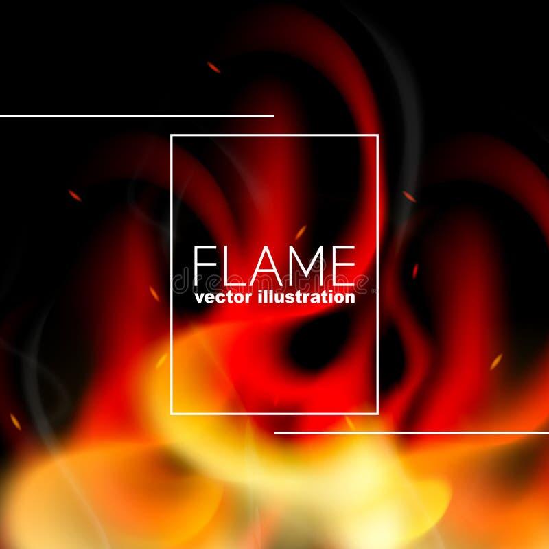 Ρεαλιστικό υπόβαθρο πυρκαγιάς Σχέδιο εγκαυμάτων φλογών για τα εμβλήματα, αφίσες, μασάζ, ανακοινώσεις ελεύθερη απεικόνιση δικαιώματος