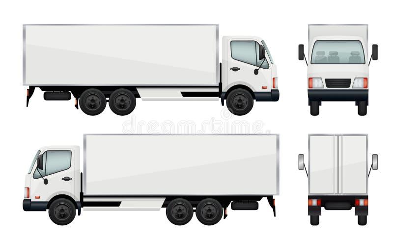 Ρεαλιστικό φορτηγό Διανυσματική μεταφορά απεικονίσεων του φορτίου ελεύθερη απεικόνιση δικαιώματος