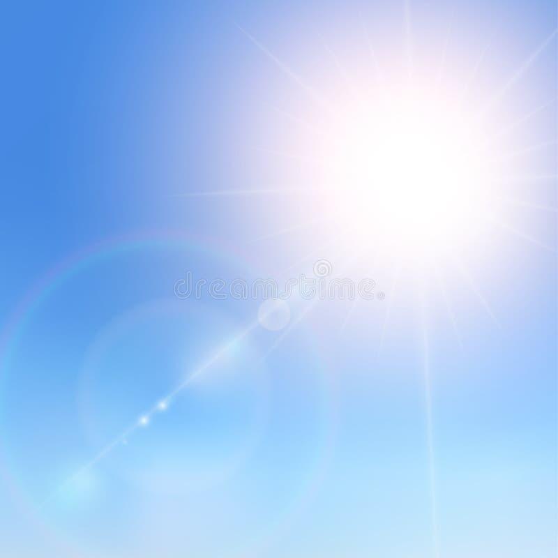 Ρεαλιστικό φως του ήλιου σε έναν μπλε ουρανό Να λάμψει μπεζ διανυσματικά χρυσά ελαφριά αποτελέσματα ήλιων Φως του ήλιου φλογών κα διανυσματική απεικόνιση