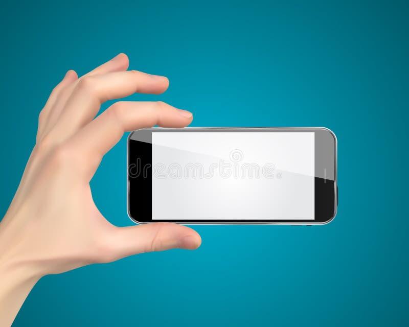 Ρεαλιστικό χέρι που κρατά το κινητό τηλέφωνο απομονωμένο στο άσπρο υπόβαθρο επίσης corel σύρετε το διάνυσμα απεικόνισης διανυσματική απεικόνιση