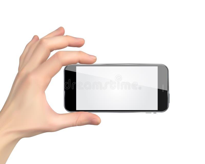 Ρεαλιστικό χέρι που κρατά το κινητό τηλέφωνο απομονωμένο στο άσπρο υπόβαθρο επίσης corel σύρετε το διάνυσμα απεικόνισης απεικόνιση αποθεμάτων