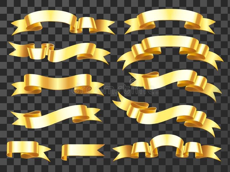 Ρεαλιστικό χρυσό έμβλημα Χρυσή οριζόντια κορδέλλα εορτασμού Κορδέλλες κυλίνδρων και απομονωμένο εμβλήματα διάνυσμα βραβείων ελεύθερη απεικόνιση δικαιώματος