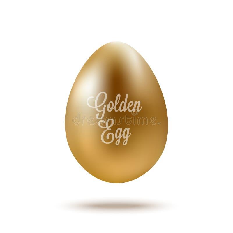 Ρεαλιστικό χρυσό αυγό με το κείμενο επίσης corel σύρετε το διάνυσμα απεικόνισης απεικόνιση αποθεμάτων