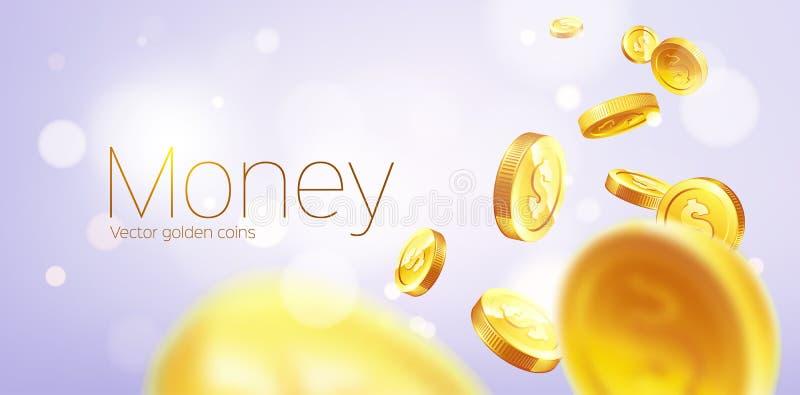 Ρεαλιστικό χρυσό πέταγμα νομισμάτων εμβλημάτων Πορφυρή ανασκόπηση διανυσματική απεικόνιση