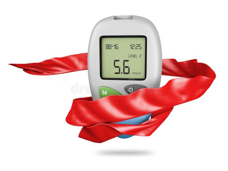 ρεαλιστικό glucometer μετρητών γλυκόζης αίματος, απομονωμένη δοκιμή τρισδιάστατη απεικόνιση γλυκόζης αίματος διαβήτη διανυσματική απεικόνιση