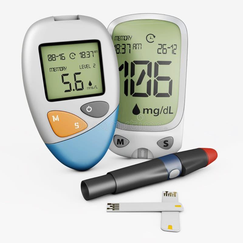 ρεαλιστικό glucometer μετρητών γλυκόζης αίματος, απομονωμένη δοκιμή τρισδιάστατη απεικόνιση γλυκόζης αίματος διαβήτη απεικόνιση αποθεμάτων