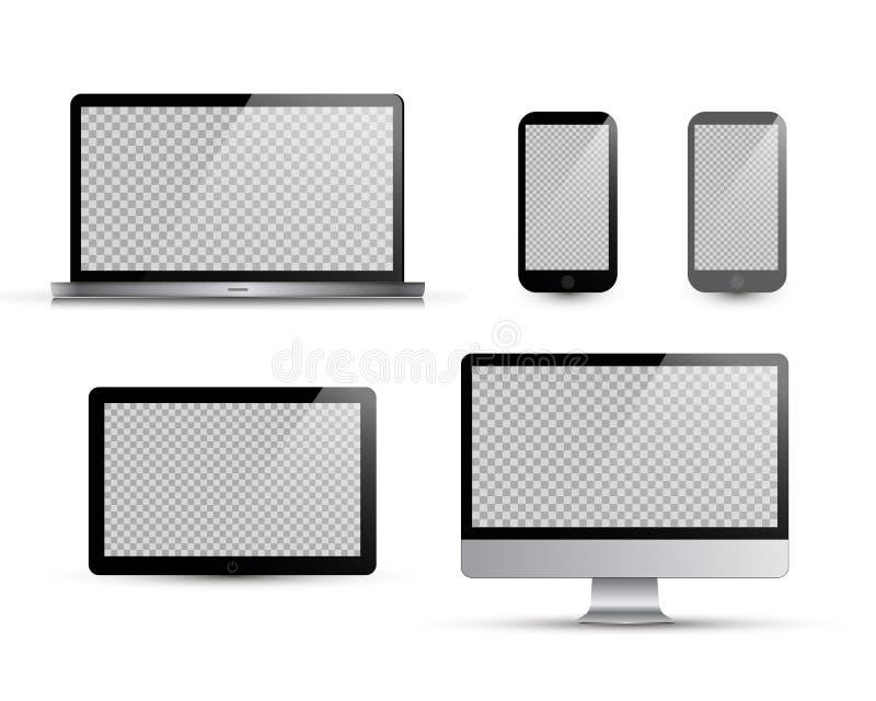 Ρεαλιστικό lap-top, ταμπλέτα, smartphone, υπολογιστής επίσης corel σύρετε το διάνυσμα απεικόνισης Άσπρη ανασκόπηση Διανυσματική χ ελεύθερη απεικόνιση δικαιώματος