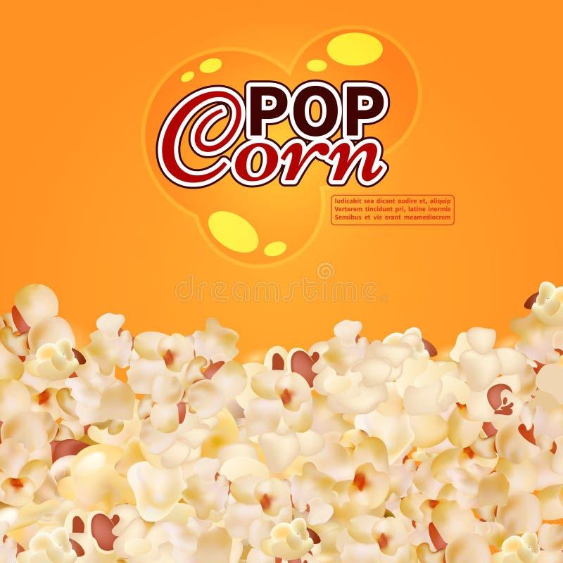 Ρεαλιστικό popcorn διανυσματικό υπόβαθρο Κινηματογράφος, πρότυπο εμβλημάτων γρήγορου φαγητού ελεύθερη απεικόνιση δικαιώματος