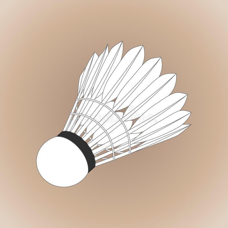 Ρεαλιστικό shuttlecock για τη μεγάλη αντισφαίριση, μπάντμιντον διανυσματική απεικόνιση