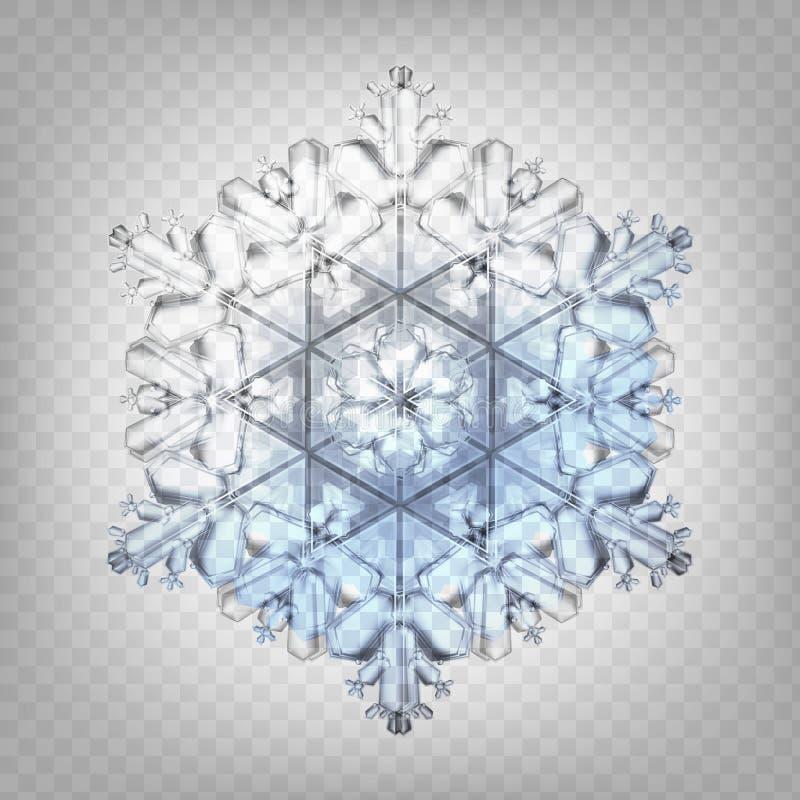 Ρεαλιστικό snowflake απεικόνισης αποθεμάτων διανυσματικό απομονωμένος σε ένα διαφανές υπόβαθρο Πτώση του χιονιού Νιφάδα του χιονι ελεύθερη απεικόνιση δικαιώματος
