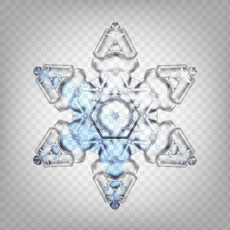Ρεαλιστικό snowflake απεικόνισης αποθεμάτων διανυσματικό απομονωμένος σε ένα διαφανές υπόβαθρο Πτώση του χιονιού Νιφάδα του χιονι διανυσματική απεικόνιση