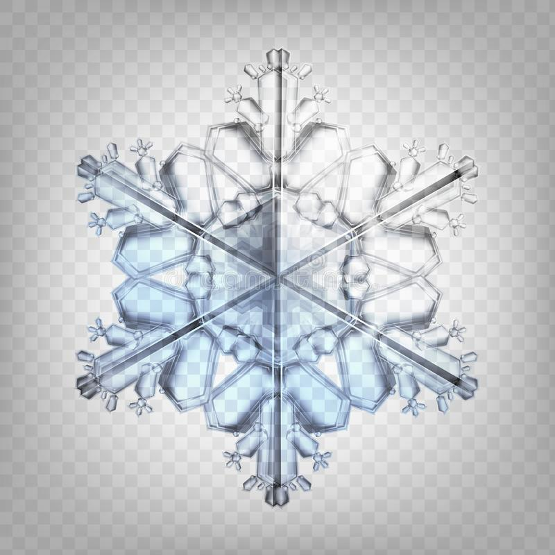 Ρεαλιστικό snowflake απεικόνισης αποθεμάτων διανυσματικό απομονωμένος σε ένα διαφανές υπόβαθρο Πτώση του χιονιού Νιφάδα του χιονι απεικόνιση αποθεμάτων