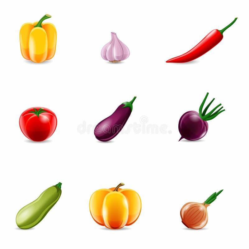 Ρεαλιστικά εικονίδια λαχανικών διανυσματική απεικόνιση