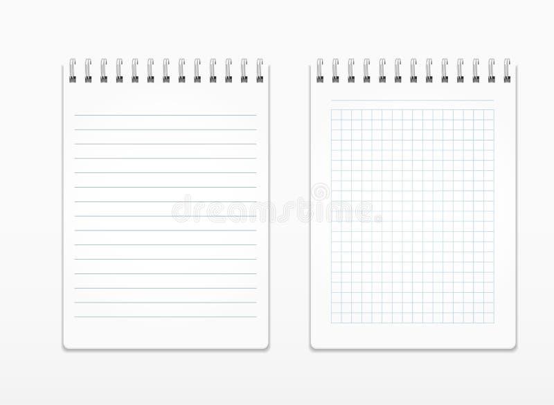 Ρεαλιστικά σημειωματάρια με τα άσπρα φύλλα στη γραμμή και σε ένα τετράγωνο, σε μια σπείρα ελεύθερη απεικόνιση δικαιώματος