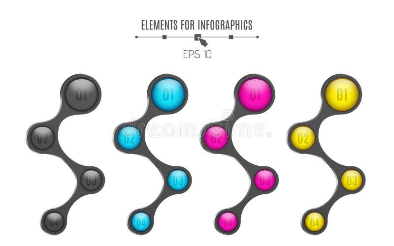 Ρεαλιστικά στοιχεία για το infographics στιλπνός πολύχρωμος σφαι Αριθμός επιλογής Για το επιχειρησιακό πρόγραμμά σας 4 βήματα Μια διανυσματική απεικόνιση
