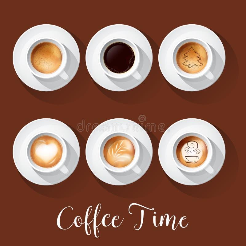 Ρεαλιστικά φλυτζάνια καφέ με Americano Latte Espresso Macchiatto Mocha Cappuccino απεικόνιση αποθεμάτων