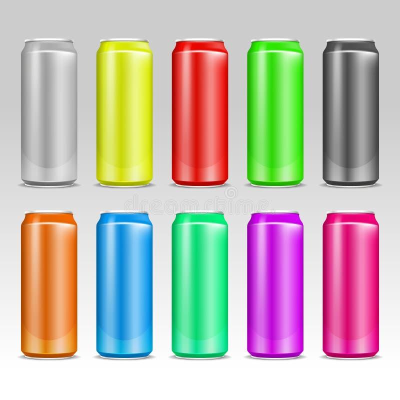 Ρεαλιστικά χρωματισμένα διανυσματικά δοχεία ποτών αργιλίου διανυσματική απεικόνιση