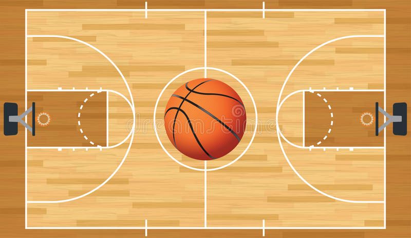 Ρεαλιστικές διανυσματικές γήπεδο μπάσκετ και σφαίρα διανυσματική απεικόνιση