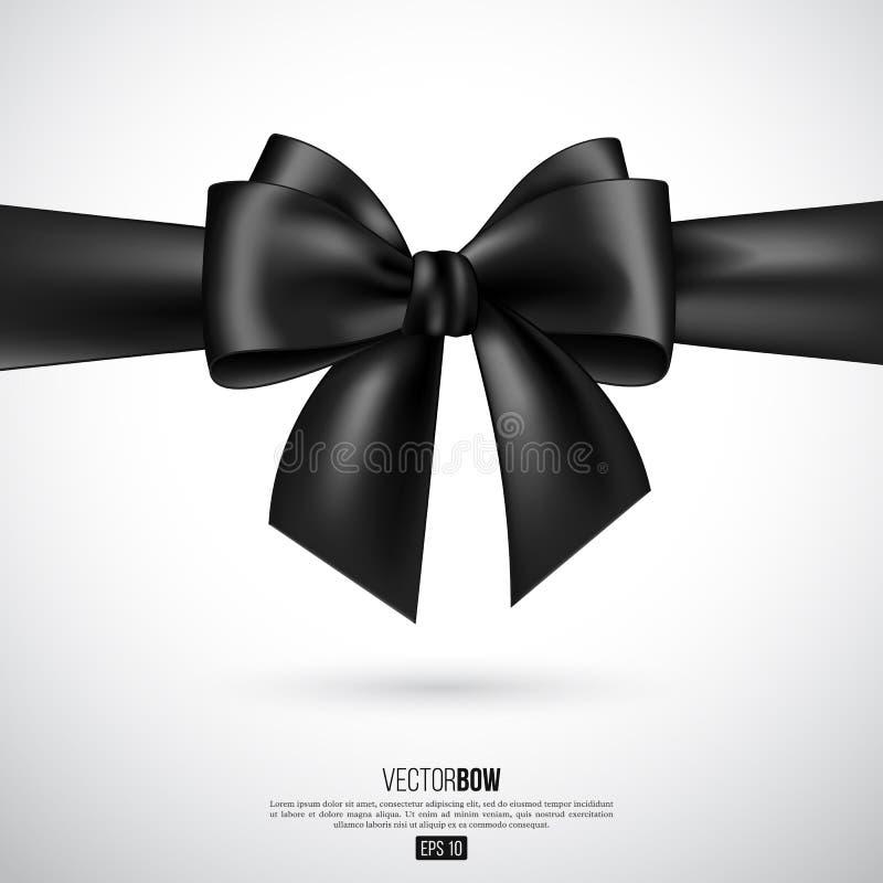Ρεαλιστικές μαύρες τόξο και κορδέλλα διανυσματική απεικόνιση