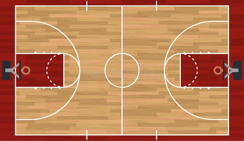 Ρεαλιστική απεικόνιση γήπεδο μπάσκετ διανυσματική απεικόνιση