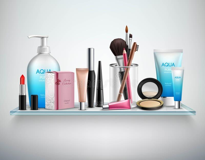 Ρεαλιστική εικόνα ραφιών εξαρτημάτων καλλυντικών Makeup ελεύθερη απεικόνιση δικαιώματος