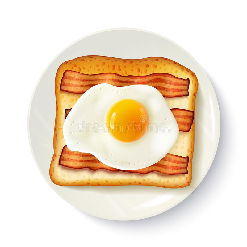 Ρεαλιστική εικόνα τοπ άποψης σάντουιτς προγευμάτων ελεύθερη απεικόνιση δικαιώματος