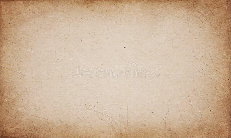 Ρεαλιστική καφετιά λεκιασμένη χαρτόνι διανυσματική σύσταση ελεύθερη απεικόνιση δικαιώματος