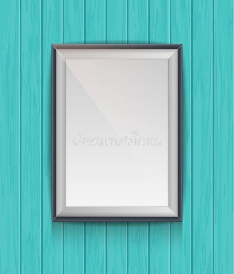 Ρεαλιστική κενή αφίσα σε ένα ξύλινο πλαίσιο εικόνων ελεύθερη απεικόνιση δικαιώματος