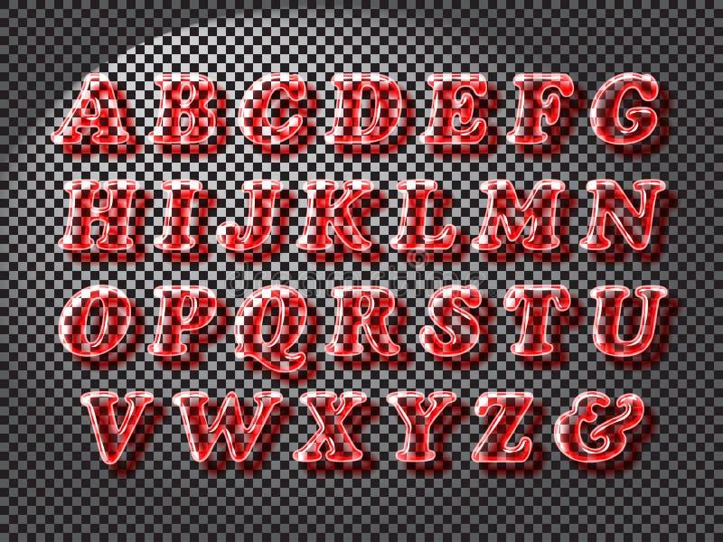 Ρεαλιστική κόκκινη πηγή γυαλιού διανυσματική απεικόνιση