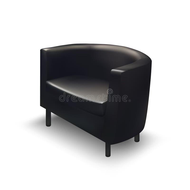 Ρεαλιστική μαύρη πολυθρόνα απεικόνιση αποθεμάτων