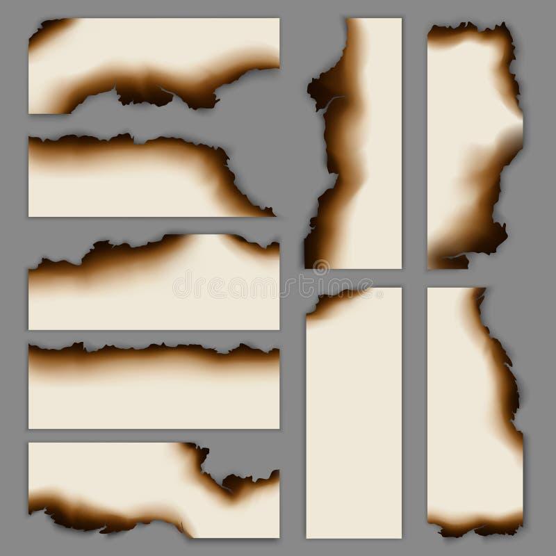 Ρεαλιστική μμένη καψαλισμένη συλλογή εμβλημάτων εγγράφου απεικόνιση αποθεμάτων