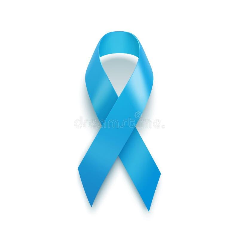 Ρεαλιστική μπλε κορδέλλα Έννοια ημέρας παγκόσμιου προστατική καρκίνου ελεύθερη απεικόνιση δικαιώματος