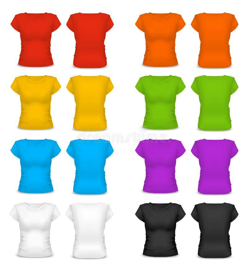 Ρεαλιστική μπλούζα γυναικών χρώματος προτύπων κενή διάνυσμα διανυσματική απεικόνιση