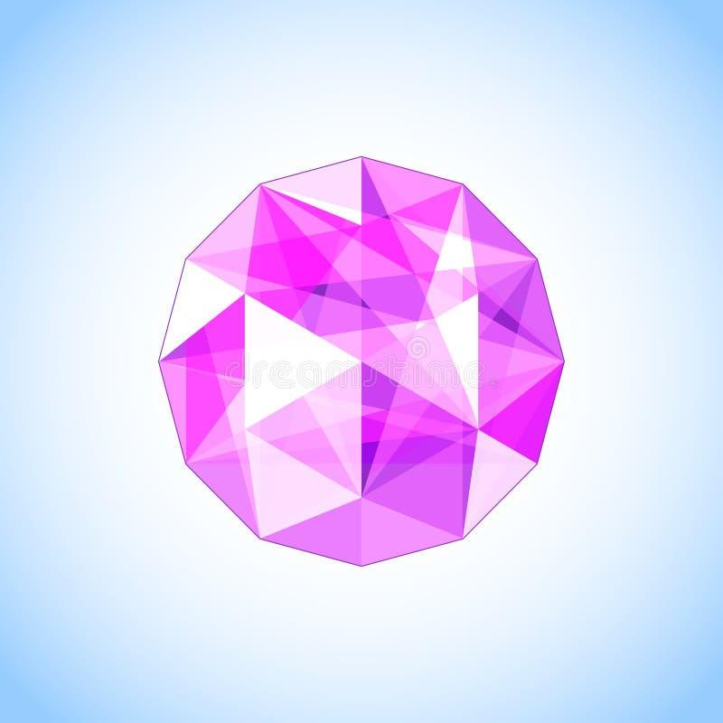 Ρεαλιστικός πορφυρός αμέθυστος που διαμορφώνεται gem επίσης corel σύρετε το διάνυσμα απεικόνισης ελεύθερη απεικόνιση δικαιώματος
