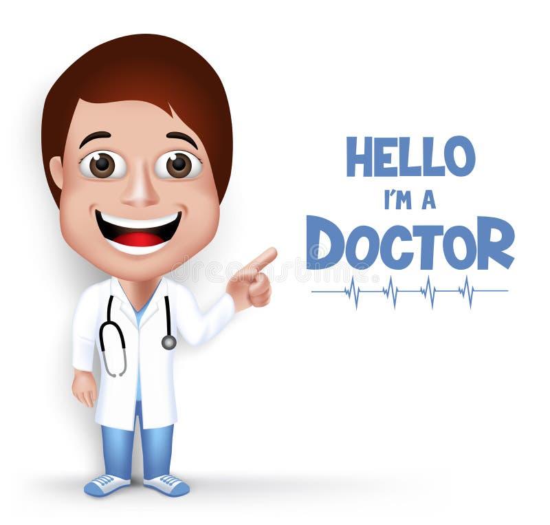 Ρεαλιστικός τρισδιάστατος νέος φιλικός θηλυκός επαγγελματικός ιατρικός χαρακτήρας γιατρών απεικόνιση αποθεμάτων