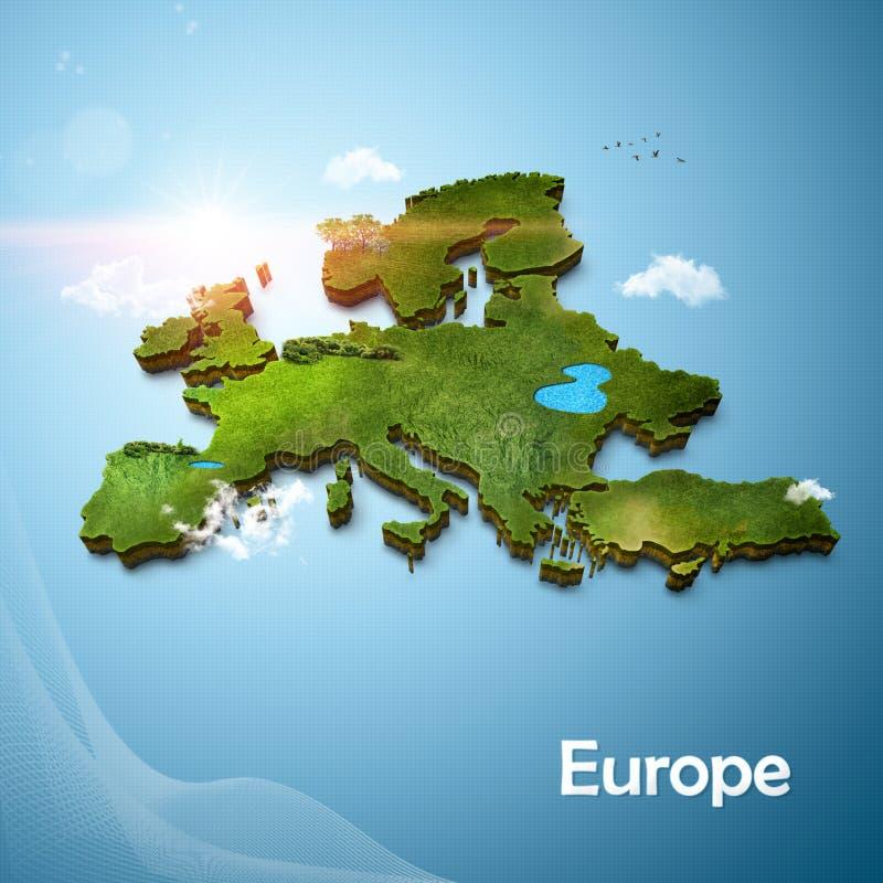 Ρεαλιστικός τρισδιάστατος χάρτης της Ευρώπης διανυσματική απεικόνιση