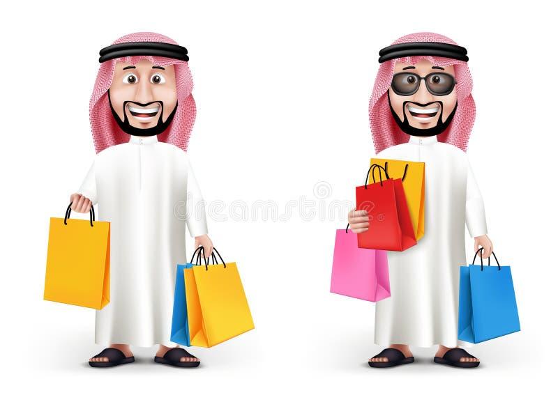 Ρεαλιστικός τρισδιάστατος όμορφος Σαουδάραβας - αραβικός χαρακτήρας ατόμων διανυσματική απεικόνιση