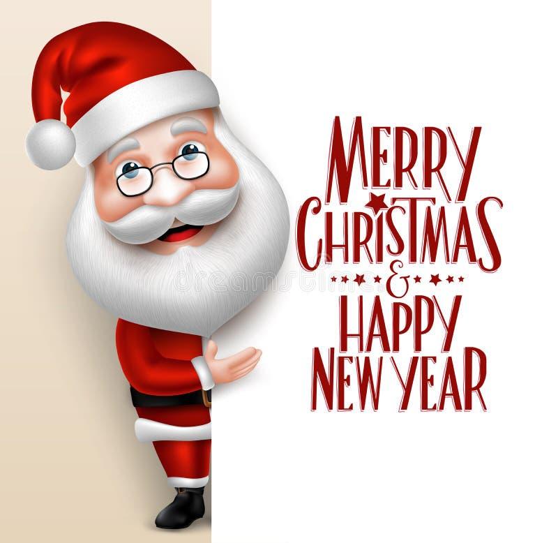 Ρεαλιστικός χαρακτήρας κινουμένων σχεδίων Άγιου Βασίλη που παρουσιάζει Χαρούμενα Χριστούγεννα απεικόνιση αποθεμάτων