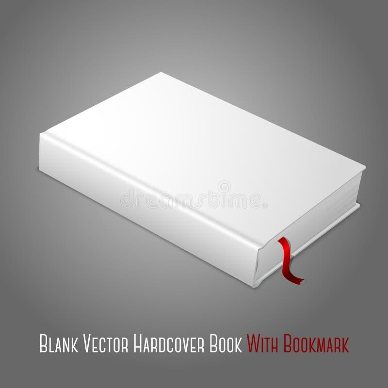 Ρεαλιστικό άσπρο κενό βιβλίο hardcover με το κόκκινο απεικόνιση αποθεμάτων