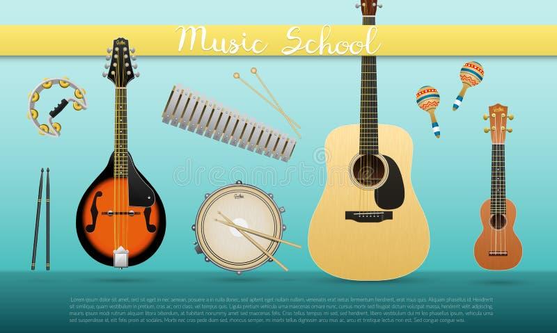 Ρεαλιστικό έμβλημα με τα μουσικά όργανα με τη σχολική ακουστική κιθάρα μουσικής σημαδιών, ukulele, μαντολίνο, snare τύμπανο, mara διανυσματική απεικόνιση