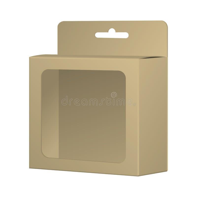 Ρεαλιστικό ανακυκλωμένο πρότυπο κιβωτίων συσκευασίας προϊόντων καρτών με το παράθυρο Α διανυσματική απεικόνιση
