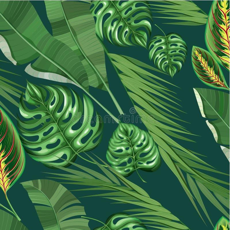Ρεαλιστικό εξωτικό τροπικό Floral σχέδιο διανυσματική απεικόνιση