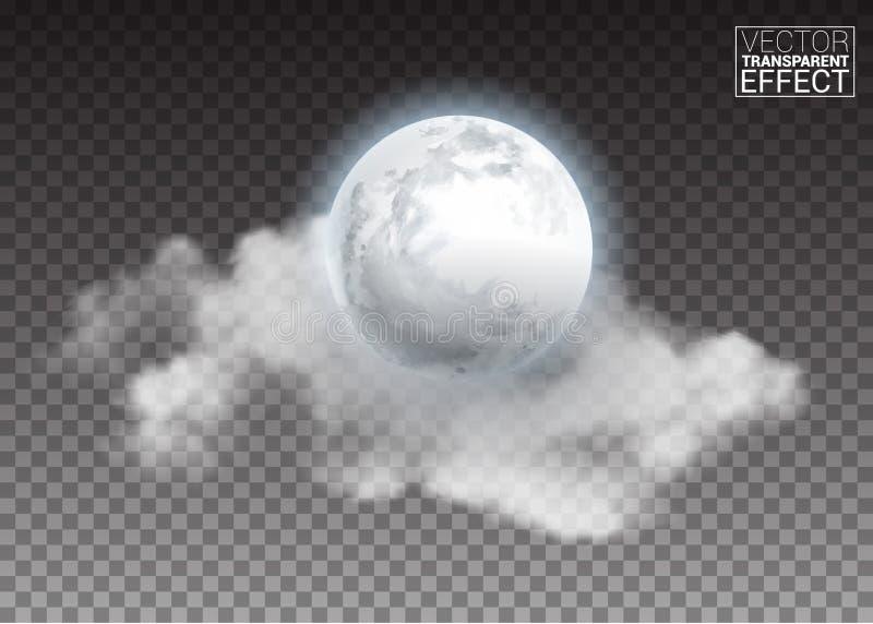 Ρεαλιστικό λεπτομερές πλήρες μεγάλο φεγγάρι με τα σύννεφα που απομονώνονται στο διαφανές υπόβαθρο διανυσματική απεικόνιση