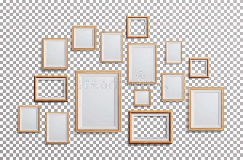 Ρεαλιστικό διάνυσμα πλαισίων φωτογραφιών Καθορισμένο τετράγωνο, A3, A4 ελαφρύ ξύλινο κενό πλαίσιο εικόνων μεγεθών, που κρεμά στο  διανυσματική απεικόνιση